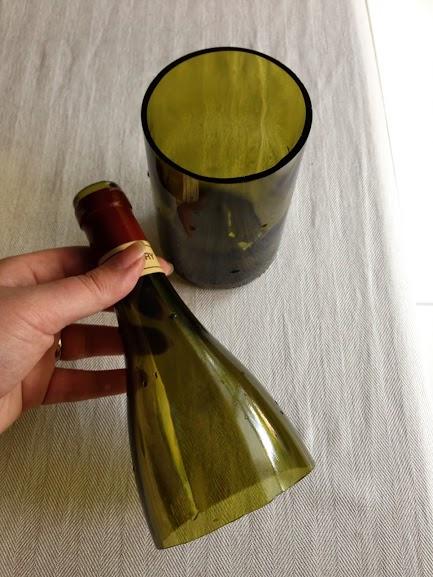 Cut wine bottle